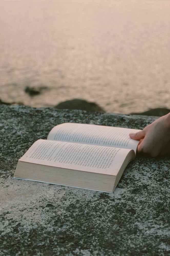 opened book on grey concrete near beach